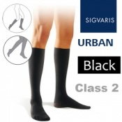 Sigvaris Urban Men's Calf Class 2 Black Compression Stockings