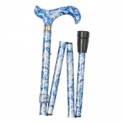 Adjustable Folding Fashion Derby Handle Blue Paisley and Butterflies Walking Stick