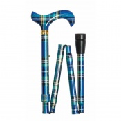 Adjustable Folding Fashion Derby Handle Blue Tartan Walking Stick