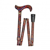 Adjustable Folding Fashion Derby Handle Orient-Patterned Walking Stick