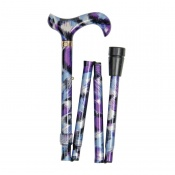 Adjustable Folding Fashion Derby Handle Purple Brushstrokes Walking Stick