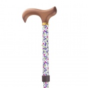 Adjustable Folding Fashion Value Derby Handle White Floral Walking Cane