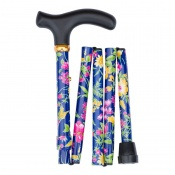 Adjustable Folding Handbag Dark Blue Tropical Flowers Walking Stick
