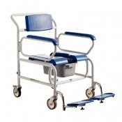 Bariatric Attendant-Wheeled  Shower Commode Chair with Standard Armrests