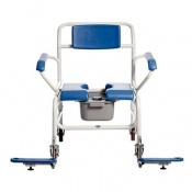 Bariatric Attendant-Wheeled  Shower Commode Chair with Butterfly Armrests