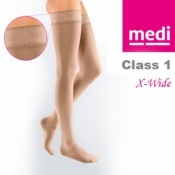 Medi Mediven Elegance Class 1 Beige Extra Wide Thigh Compression Stockings with Top Band
