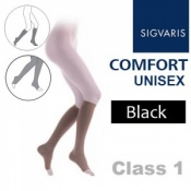 Sigvaris Unisex Comfort Calf Class 1 (RAL) Black Open Toe Compression Stockings