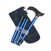 Blue Badge Company Adjustable Folding Navy Walking Stick and Blackwatch Tartan Carry Bag