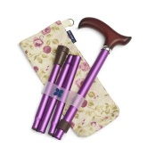 Blue Badge Company Adjustable Folding Purple Walking Stick and Mulberry Carry Bag