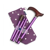 Blue Badge Company Adjustable Folding Purple Walking Stick and Spotty Grape Carry Bag