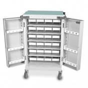 Bristol Maid Dispensing Tray Trolley, Double Door with 24 LP Trays and Code Lock