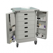 Bristol Maid Dispensing Tray Trolley with Double Doors, Six Shallow Drawers and Bolt Lock