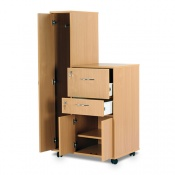 Bristol Maid Beech Bedside Cabinet with Left-Hand Wardrobe (Cupboard and Lockable Drawers)