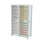 Bristol Maid Double-Column Caretray Rack with Eight Shallow Trays and Ten Deep Trays