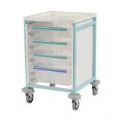 Bristol Maid Low-Level Single-Column Caretray Trolley with One Shallow Tray and Two Deep Trays