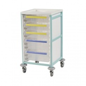 Bristol Maid Mid-Level Single-Column Caretray Trolley with Four Shallow Trays and One Deep Tray