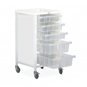 Bristol Maid Single-Column Standard-Level Tray Trolley with 3 x 100mm and 2 x 160mm Trays
