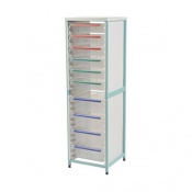 Bristol Maid Single-Column Caretray Rack with Four Shallow Trays and Six Deep Trays