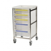 Bristol Maid Single Column 950mm High Procedure Trolley with 3 Small Trays and 2 Large Trays