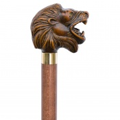 Brown Roaring Lion Walking Cane