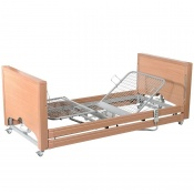 Casa Med Classic FS Low Beech Profiling Bed with Side Rails and Wooden Slats