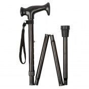 Extra-Long Economy Height-Adjustable Folding Black Walking Stick (36 - 40'')