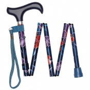 Height-Adjustable Blue Floral Mini Folding Derby Walking Stick