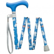 Height-Adjustable Mini Folding Cartoon Dogs Derby Handle Walking Stick