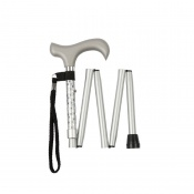 Height-Adjustable Mini Folding Silver Engraved Derby Walking Stick