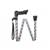 Height-Adjustable Folding Retro Spots Anatomical Walking Stick