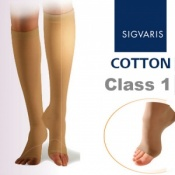 Sigvaris Cotton Class 1 Compression Below Knee Open Toe Stockings - Nature
