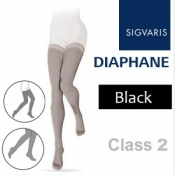 Sigvaris Diaphane Thigh Class 2 Black Compression Stockings