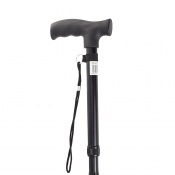 Drive Medical Black Adjustable Folding Walking Stick with Strap
