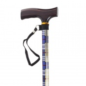 Drive Medical Computer Plaid T-Handled Walking Cane with Strap
