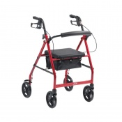 Drive Medical Red Lightweight Aluminium Rollator with 6'' Wheels