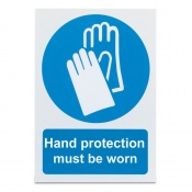 'Hand Protection Must Be Worn' Safety Sign