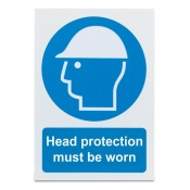 'Head Protection Must Be Worn' Safety Sign