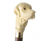 Imitation Ivory Golden Retriever Hardwood Cane