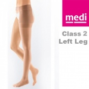Medi Mediven Plus Class 2 Beige Left Leg Stocking Open Toe with Waist Attachment