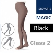 Sigvaris Magic Class 2 Open Toe Maternity Compression Tights - Black