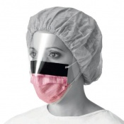 Medline Level 3 Fluid-Resistant Procedure Face Mask with Eyeshield (Box of 25 Masks)
