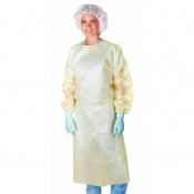 Medline Yellow Polyethylene-Coated Polypropylene Isolation Gown (Pack of 50)