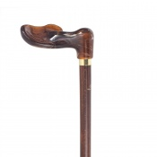 Left-Handed Amber Fischer Handle Dark Hardwood Orthopaedic Walking Cane