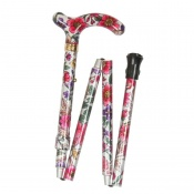 Petite Adjustable Folding Easy-Joint Violet and Pink Floral Walking Cane