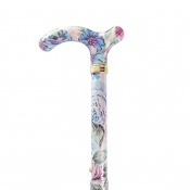 Petite Adjustable Folding Easy-Joint Pink and Blue Floral Walking Cane