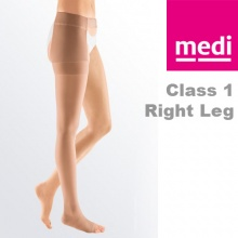 Medi Mediven Plus Class 1 Beige Right Leg Stocking with Waist Attachment and Open Toe