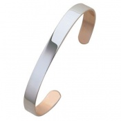 Sabona Plain Copper Silver-Plated Bracelet (7mm Width)
