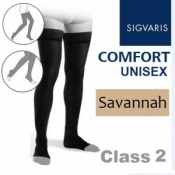 Sigvaris Unisex Comfort Thigh Class 2 (RAL) Savannah Knobbed Grip Top Compression Stockings with Open Toe