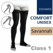 Sigvaris Unisex Comfort Thigh Class 1 (RAL) Savannah Compression Stockings with Open Toe