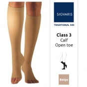 Sigvaris Traditional 500 Calf Class 3 (RAL) Beige Compression Stockings with Open Toe
